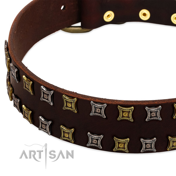 Flexible full grain natural leather dog collar for your stylish dog