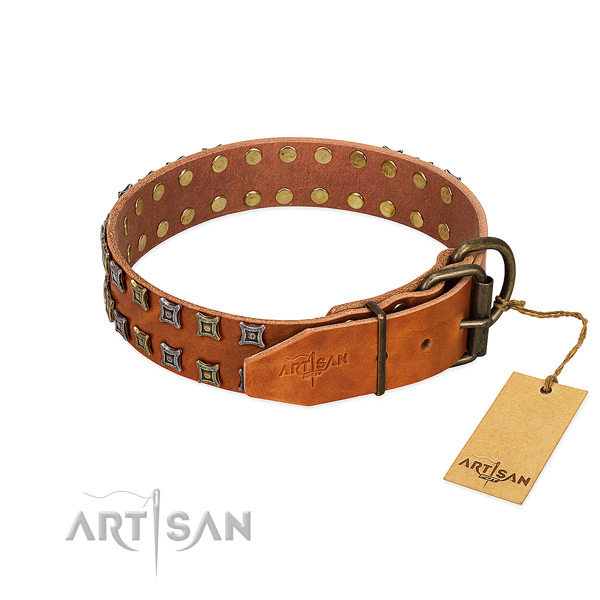 Gentle to touch full grain natural leather dog collar created for your dog