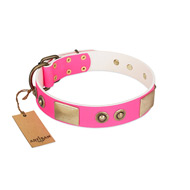 """Pink Splash"" FDT Artisan Soft Leather Great Dane Collar with Bronze-like Plates and Medallions"