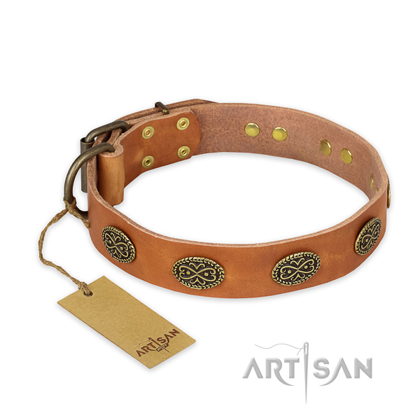 Easy to adjust full grain leather dog collar with durable hardware