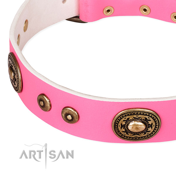Natural genuine leather dog collar made of top rate material with embellishments