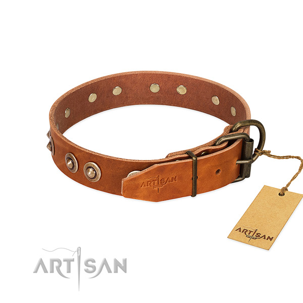 Durable fittings on genuine leather dog collar for your dog