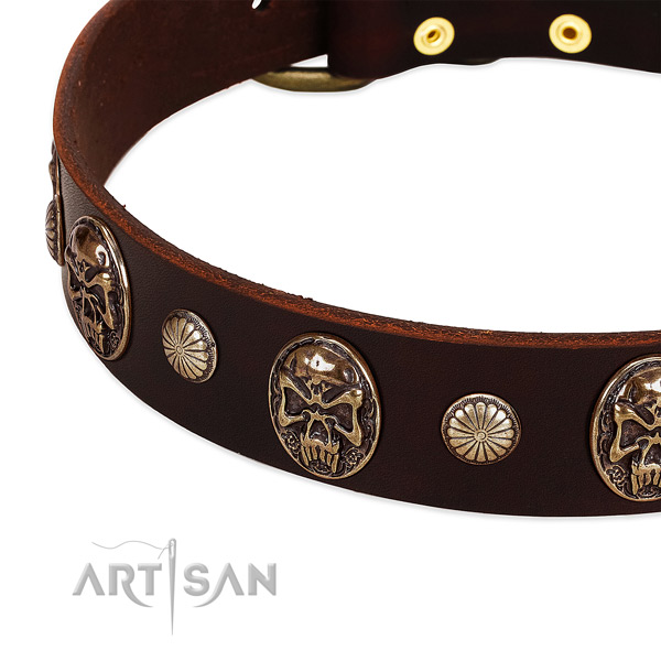 Full grain natural leather dog collar with decorations for handy use