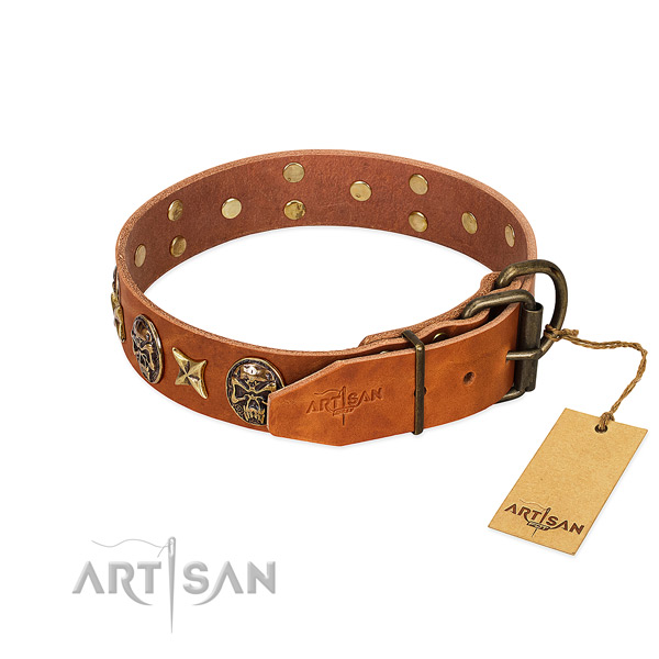 Genuine leather dog collar with corrosion proof fittings and decorations