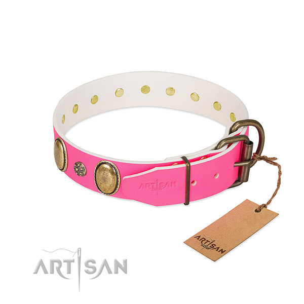 Soft natural leather dog collar with adornments