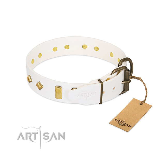 Soft to touch natural leather dog collar with corrosion resistant traditional buckle