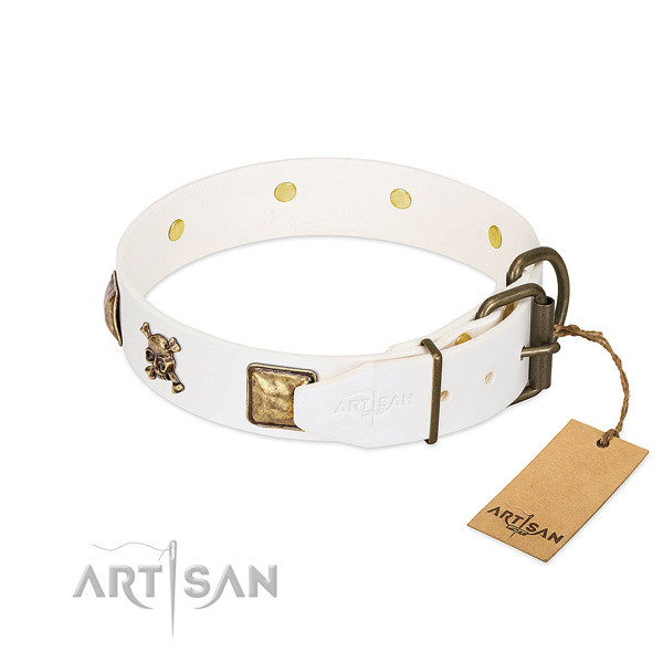 Top notch full grain natural leather dog collar with rust-proof decorations