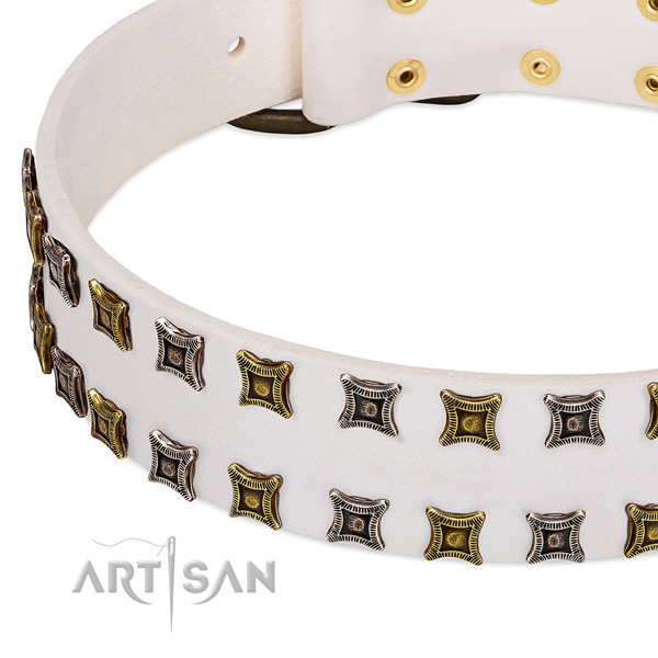 Gentle to touch full grain natural leather dog collar for your lovely four-legged friend