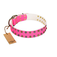 """Blushing Star"" FDT Artisan Pink Leather Great Dane Collar with Two Rows of Small Studs"