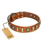 """Happy Hound"" FDT Artisan Tan Leather Great Dane Collar with Elegant Decorations"