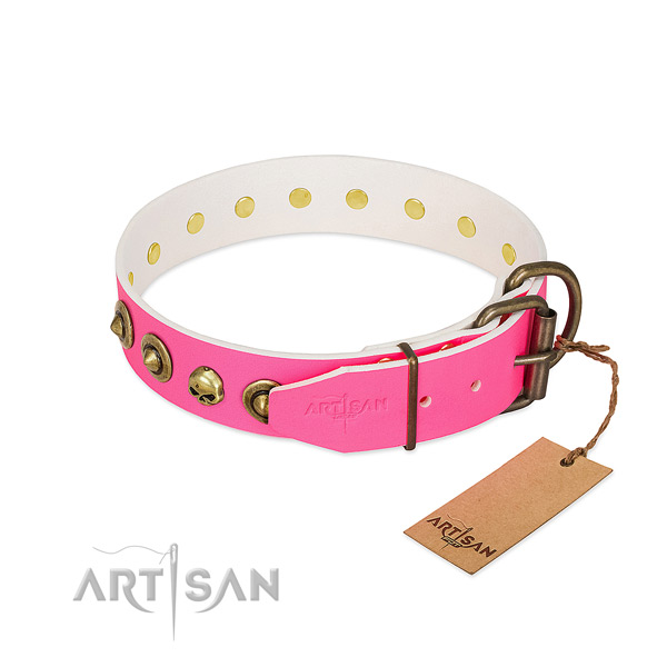 Full grain leather collar with impressive studs for your four-legged friend