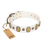 """Nifty Doodad"" FDT Artisan White Leather Great Dane Collar with Amazing Large Ovals and Small Studs"
