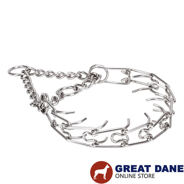 Rust resistant stainless steel prong collar for ill behaved pets
