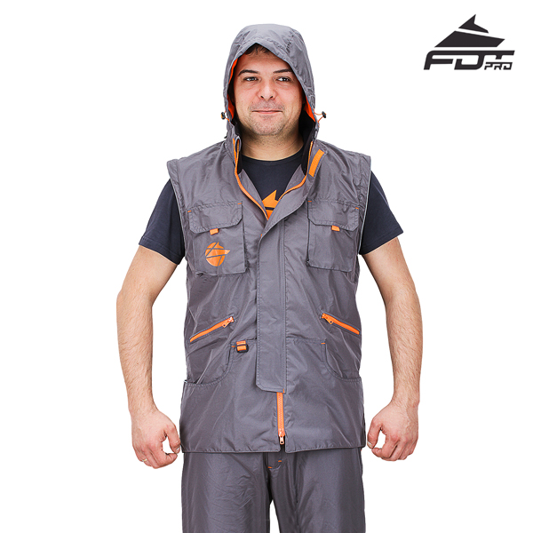 Dog Tracking Jacket of Grey Color FDT Professional Design with Hood