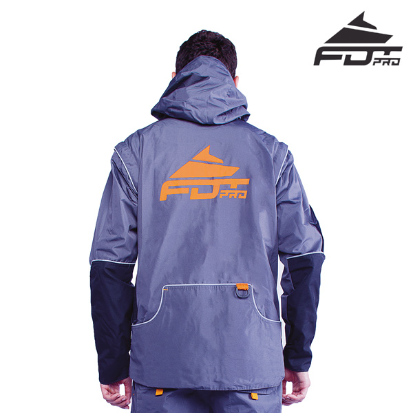 Pro Dog Training Jacket of Grey Color with Reliable Side Pockets