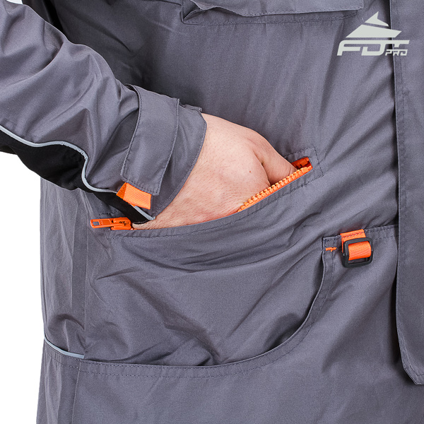 Grey Color FDT Professional Design Dog Tracking Jacket with Durable Side Pockets
