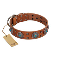 """Blue Sands"" FDT Artisan Tan Leather Great Dane Collar with Silver-like studs and Round Conchos with Stones"