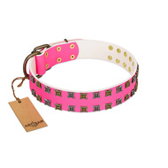 """Glamy Solo"" FDT Artisan Pink Leather Great Dane Collar with Extraordinary Studs"