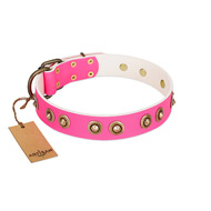 """Bright Delight"" Pink FDT Artisan Leather Great Dane Collar with Large Old Bronze-like Plated Studs"