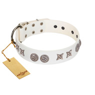 """Galaxy Hunter"" FDT Artisan White Letaher Great Dane Collar with Engraved Brooches and Stars"