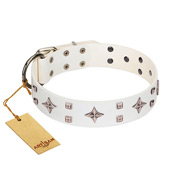 """The Milky Way"" FDT Artisan White Leather Great Dane Collar Adorned with Stars and Tiny Squares"