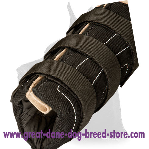 Hidden bite sleeve with velcro straps
