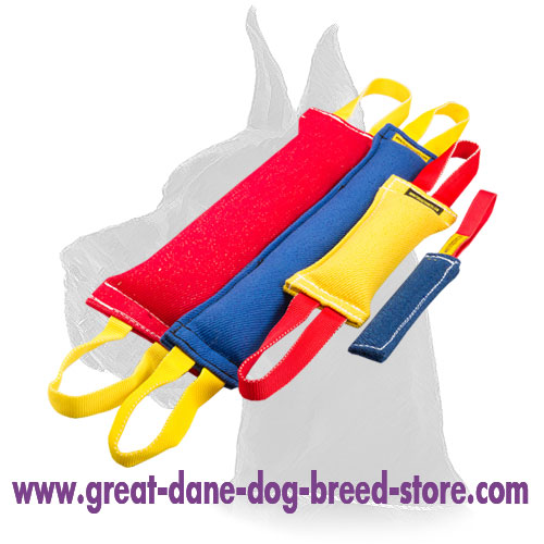 Set of French Linen tugs for training adult Great Dane