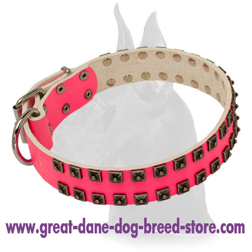 Glamour Design Pink Leather Collar with Studs
