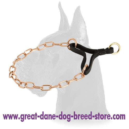 """Perfecto Control"" Curogan Great Dane Martingale Collar with Leather Part - 1/9 inch (3 mm)"