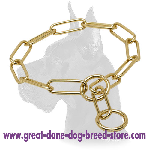"""Chain Trainer"" Brass Fur Saver Dog Collar - 1/6 inch (4.0 mm)"