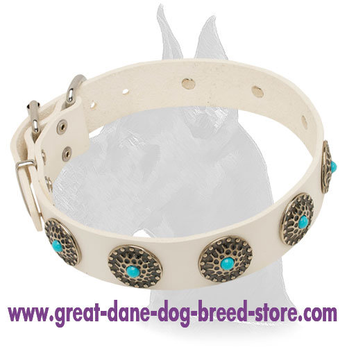 White Leather Great Dane Collar with blue stones