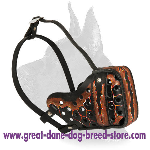 """Magma"" Style Leather Great Dane Muzzle for training"