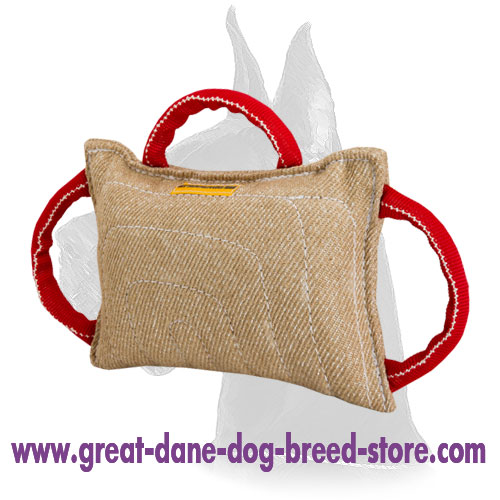 Dog bite pad made of jute with 3 handles for Great Dane