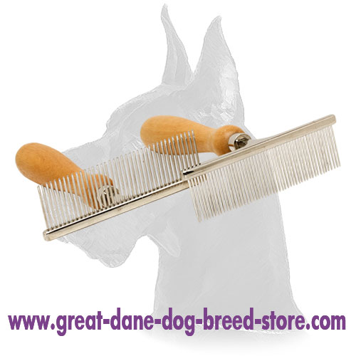 """Hair Designer"" Dog Comb with Wooden Handle for Great Dane"
