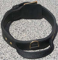 2 ply leather agitation dog collar with handle