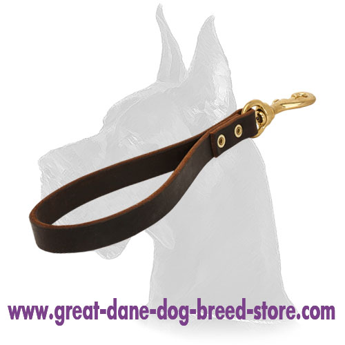 Leather Great Dane Pull Tab with brass snap hook