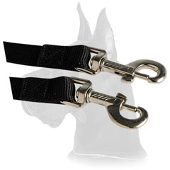Nylon leash coupler with reliable nickel snap hooks