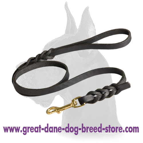 Soft, Comfortable and Reliable Leather Dog Leash for Great Dane