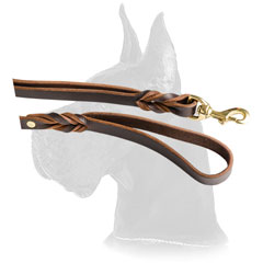 Optional leather Great Dane leash with extra handle