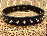Leather Spiked Dog Collar- 1 Row of spikes large dog collar